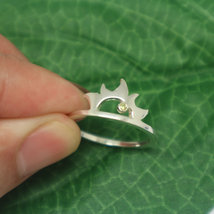 Silver Sun Ring with Birthstone image 5