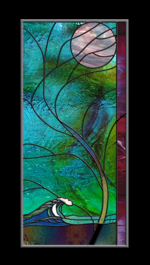Stained Glass Window Panel • Wave Tree Moonlight Hawaii Turquoise Surf Australia