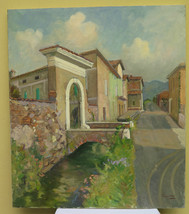 Painting Modern Vintage Of 900 View of A Country Countryside Emiliana Si... - $431.41