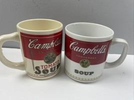 Vtg 80s Campbells Soup Mugs LOT of 2 Cup USA Corning Porcelain - $17.25