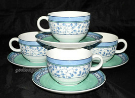 Mikasa Susanne * 4 SETS CUPS & SAUCERS * Blue & Green, Excellent! - $15.83