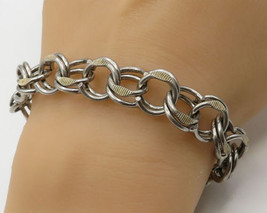 925 Sterling Silver - Vintage Multiple Interlocked O Ring Chain Bracelet... - $101.66