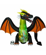 Halloween Air Blown Inflatable 12 FT ANIMATED FIRE AND ICE DRAGON   - $195.00