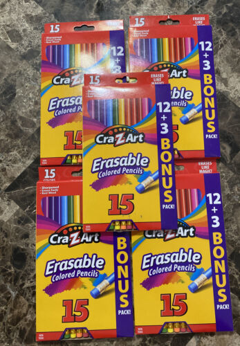 Primary image for 5 Packs Cra-Z-Art 15 Colored Pencils, Erasable, Real Wood, Sharpened,