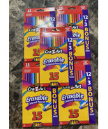 5 Packs Cra-Z-Art 15 Colored Pencils, Erasable, Real Wood, Sharpened, - $24.74