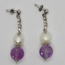 Pendientes de Plata 925 Rodiado Colgantes Zirconia Cúbicos Perlas y Amatista image 5