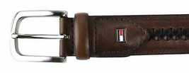 Tommy Hilfiger Men's Braided Leather Brown Belt 35MM 11TL02X047 New W/Defet
