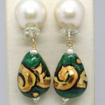 GOLD EARRINGS YELLOW 750 18K PEARLS FW DROP HAND-PAINTED MADE IN ITALY image 2