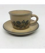 Pfaltzgraff Folk Art Tan & Blue Cup & Saucer - $9.49