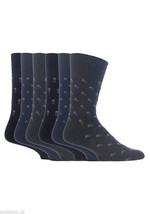 6 Pairs Mens Gentle Grip Socks Size 6-11 Uk, 39-45 Eur MGG43 B/N/G Square - $10.99