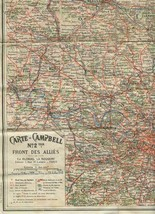 Carte Campbell No 2 Ter Front Des Allies World War One Map March to July... - $47.52