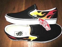 4e790d7b43 Vans Classic Slip on Mens Flame Black True White Canvas Skate shoes Size.