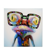 7CANVAS -Hand Painted Frog Oil Painting Wall Art-Animal Colorful Frog Ar... - $64.23
