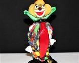 """Murano Hand Blown 7.5"""" Multi-Color Glass Art Clown Figurine"""