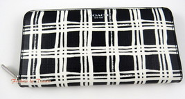 New w Tag COACH 51139 Bleeker CC Black White Accordion Zip Wallet - $89.09