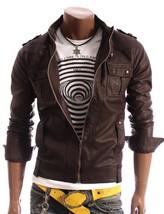 Mens Brown Genuine Handmade Cowhide Leather Jacket Real Bespoke Leather - $118.79+