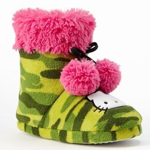 Hello Kitty Plush Bootie Slippers Girls 11-12 Green Camouflage Pink Pom Poms NEW - $11.98