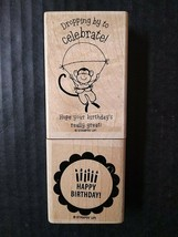 Stampin' Up Rubber Stamps Dropping By To Celebrate Birthday Parachuting ... - $16.68