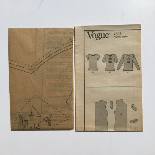 Vogue 7506 Pullover Blouse with Front Bow Details 6-10Uncut Pattern FF VTG 80's image 4