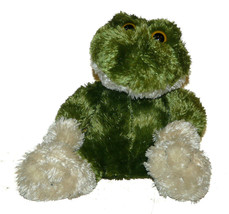 Animal Adventure Green Cream Big Feet Frog Plush 8 inch Lovey Stuffed An... - $19.68