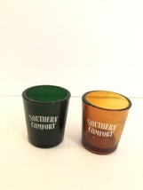 Vtg Southern Comfort Green Orange/brown Heavy Shot Glasses - $24.74