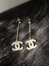 SALE* AUTH CHANEL 2019 LARGE CC LOGO Crystal Dangle Drop SILVER Earrings