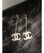 SALE* AUTH CHANEL 2019 LARGE CC LOGO Crystal Dangle Drop SILVER Earrings - $499.99