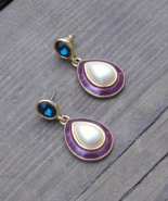 Vintage Trifari TM Pierced Earrings, Blue Rhinestone, Purple Enamel, Fau... - $125.00