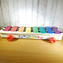 Vintage 1964-78 Fisher Price Pull A Tune Rolling Xylophone MusicToy Cord Missing - $7.69