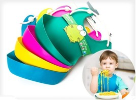 Waterproof Silcone Roll Up Baby Soft Bib  4pcs a lot Food Catcher Pocket - $14.25
