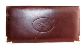 Authentic CARTIER Paris Bordeaux Leather Bifold Long Wallet Card Purse F... - $84.59