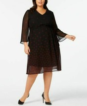 Anne Klein Dress Sheer Long Sleeve Black Leaves Sz 14W Plus NEW NWT 220 - $74.50