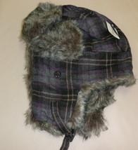 Faux Fur Purple Plaid Trapper Hats #H-9013P - $11.88
