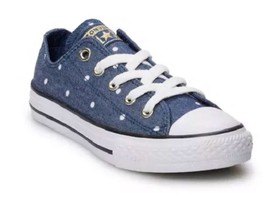 New!!Junior Converse Navy/Gold/White Polka Dot Low Athletic Shoes!!!(662... - $34.99