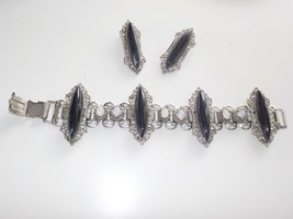 Vintage Gothic jewelry set bracelet clip on earrings - $29.69