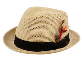 EPOCH WOVEN POLY BRAID FEDORA BEACH HAT WITH SOLID BLACK BAND & FEATHER F2682