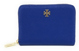 Tory Burch Emerson Saffiano Leather Zip Coin Case  Royal Blue - NWT - $115 - $59.95