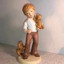 1981 AVON BEST FRIENDS FIGURINE BOY PUPPY DOGS PUPPIES GOLDEN RETRIEVER ... - $14.85