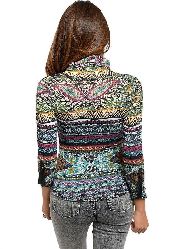 Juniors mock neckline long sleeve printed knit top