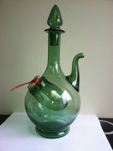 "Italy Green Glass 10"" Decanter Jug 1960's Handblown Glass Straw Stopper VFC - $25.55"