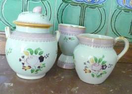 Antique Adams England Calyx Ware  3 PC  set Sugar Bowl, Creamer, Juice C... - $59.99