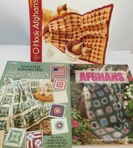 3 Crochet Afghan Books-A Year Of Book 2, Contest Fav Squares, Q Hook 3 - $24.70