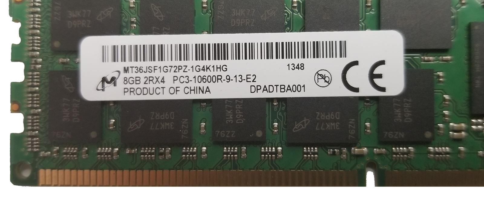 Micron 8GB PC3-10600R MT36JSF1G72PZ Server RAM (LOTOF4) Bin:6