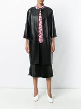 Vintage Stylish Black Collar Less Women's 100%  Genuine Lamb Skin Leather Coat
