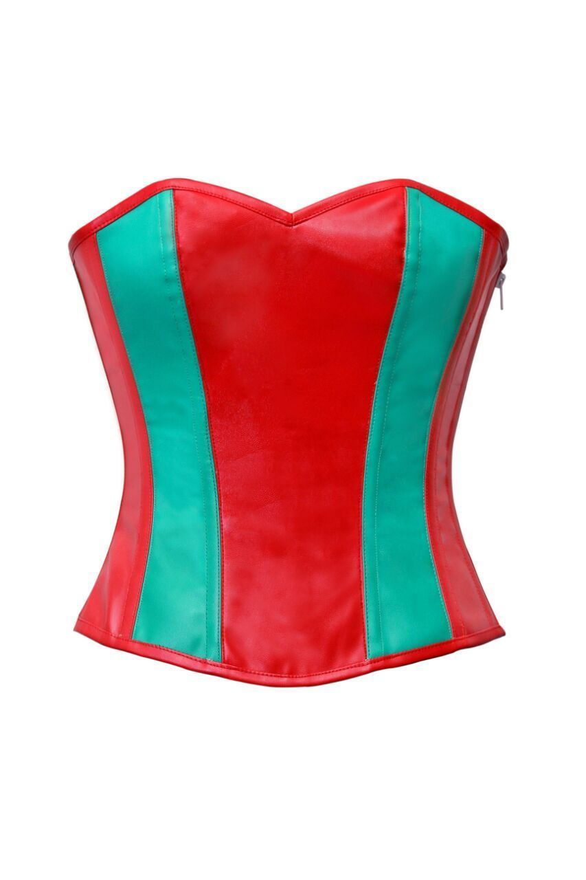 Red & Green Leather Zip Goth Steampunk Waist Shaper Overbust PLUS SIZE Corst Top