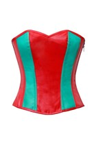 Red & Green Leather Zip Goth Steampunk Waist Shaper Overbust PLUS SIZE Corst Top - $78.57