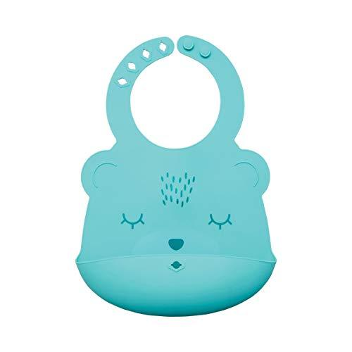 Tiny Twinkle Silicone Roll-Up Bib - Mint Bear - Waterproof Toddler and Baby bib