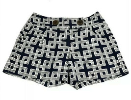 MILLY Of New York Women's Navy White Square Pattern Shorts Sz 0 XS Butto... - $41.53
