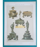 ITALY 16th C Renaissance Ink Wells Various Designs - 1884 COLOR Litho Print - $12.96