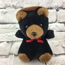 """Stuffed Animal House 5.5"""" Teddy Bear Plush In Forest Ranger Hat Sitting Soft VTG - $9.89"""
